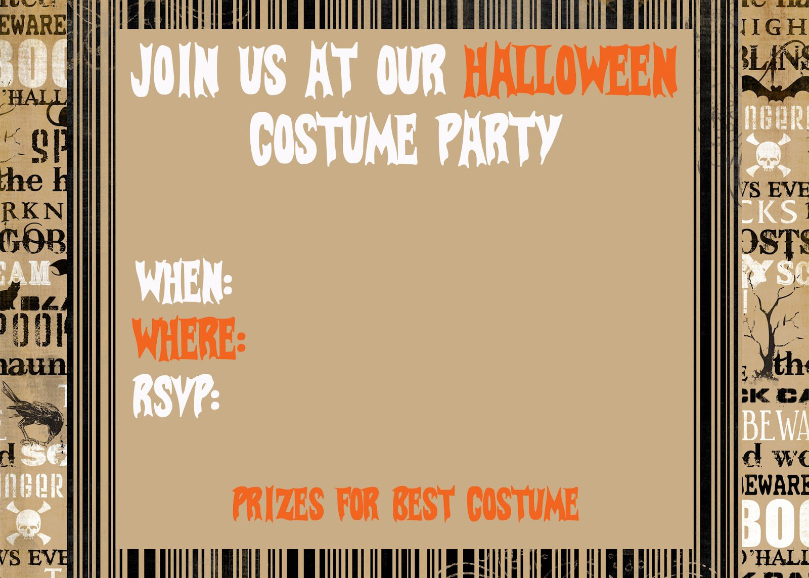 Free Printable Halloween Party Invitations To Print