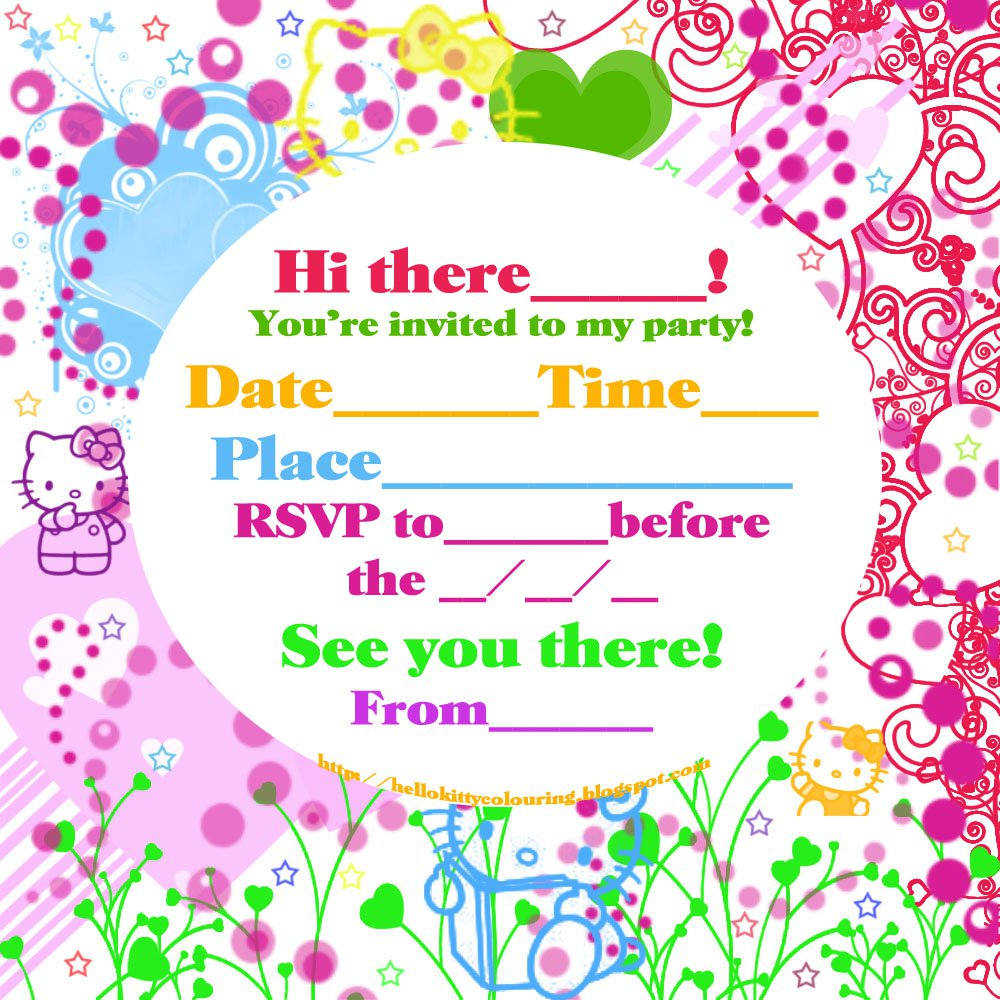 Free Printable Hello Kitty Invitation Birthday Party Invitations