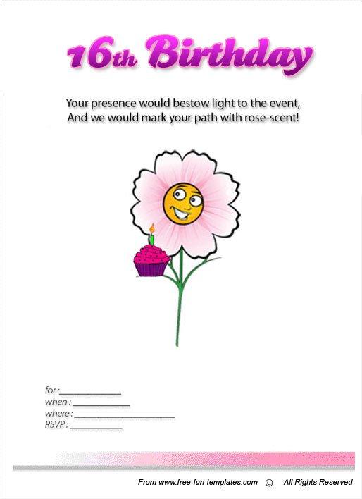 Free Printable Invitation Birthday Cards For Girls