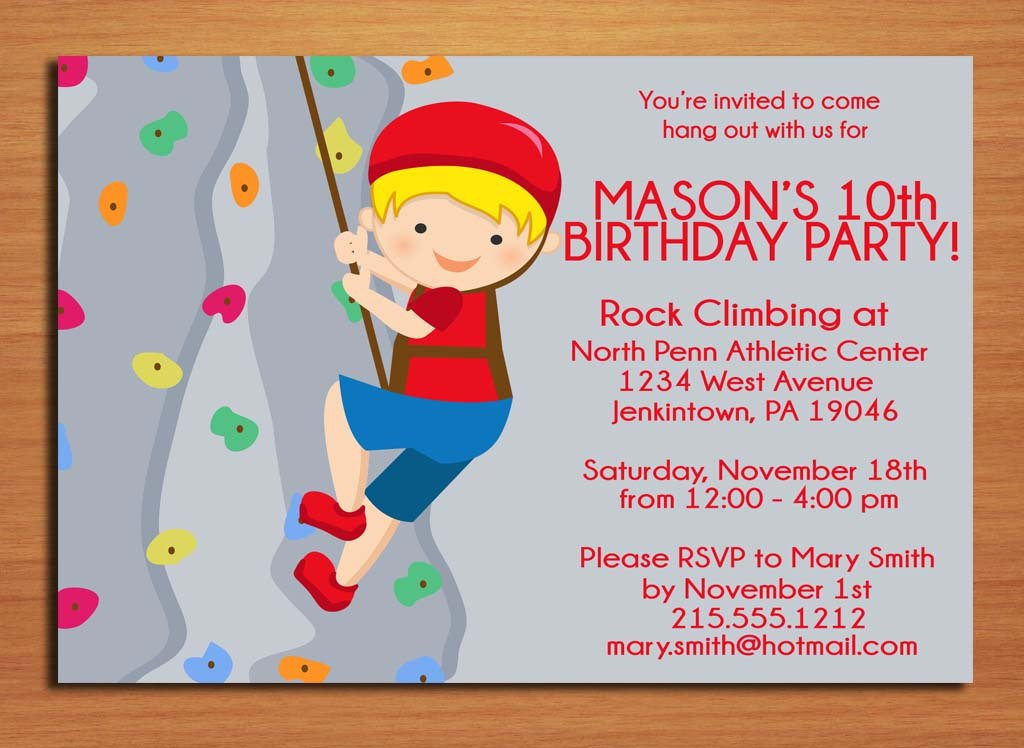 Free Printable Invitation Cards For Kids Birthday Party - Birthday party invitations rock climbing