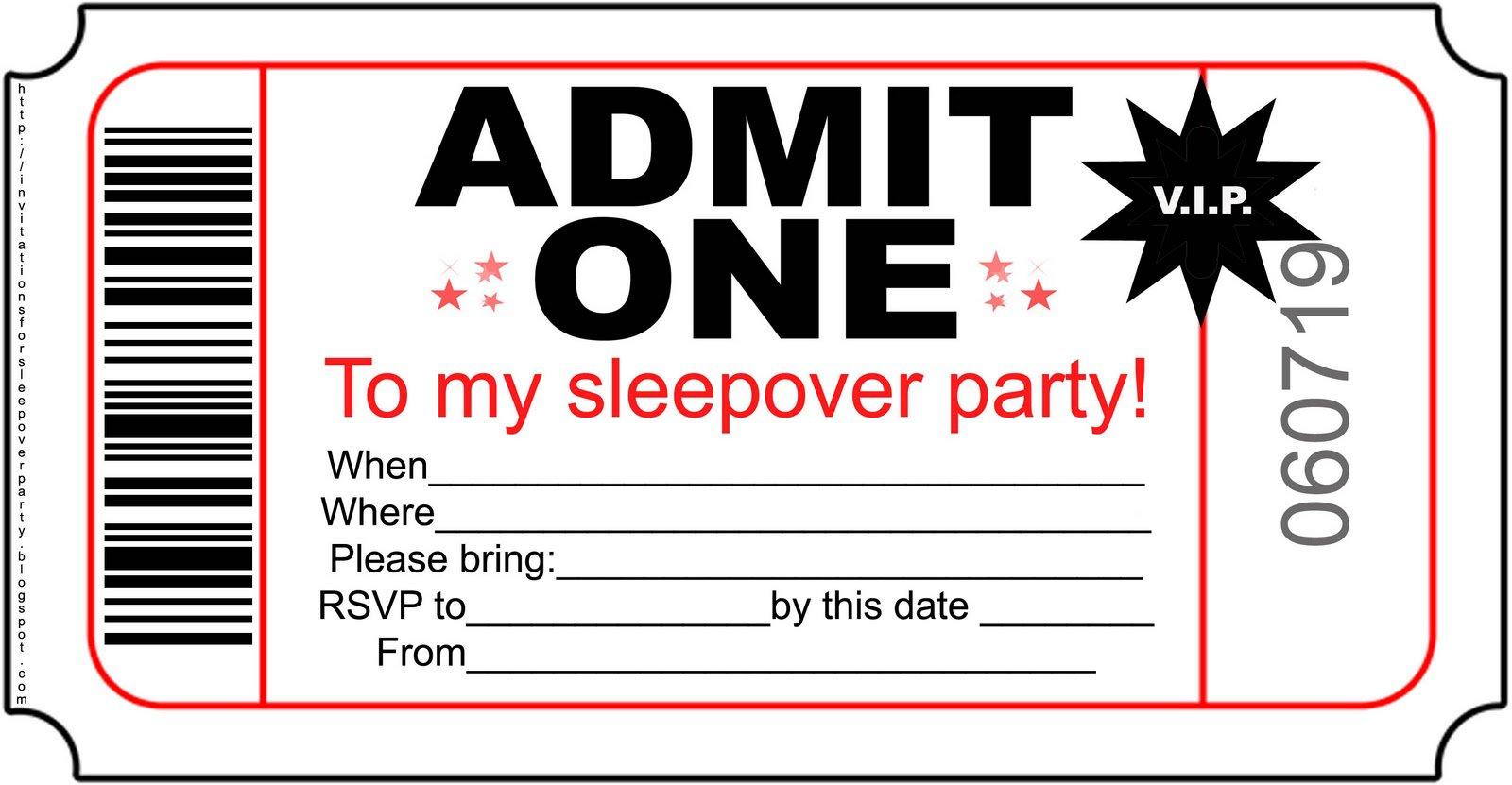 Free Printable Invitations For Sleepover Birthday