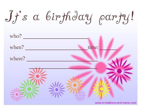Free Printable Kids Birthday Party Invitations
