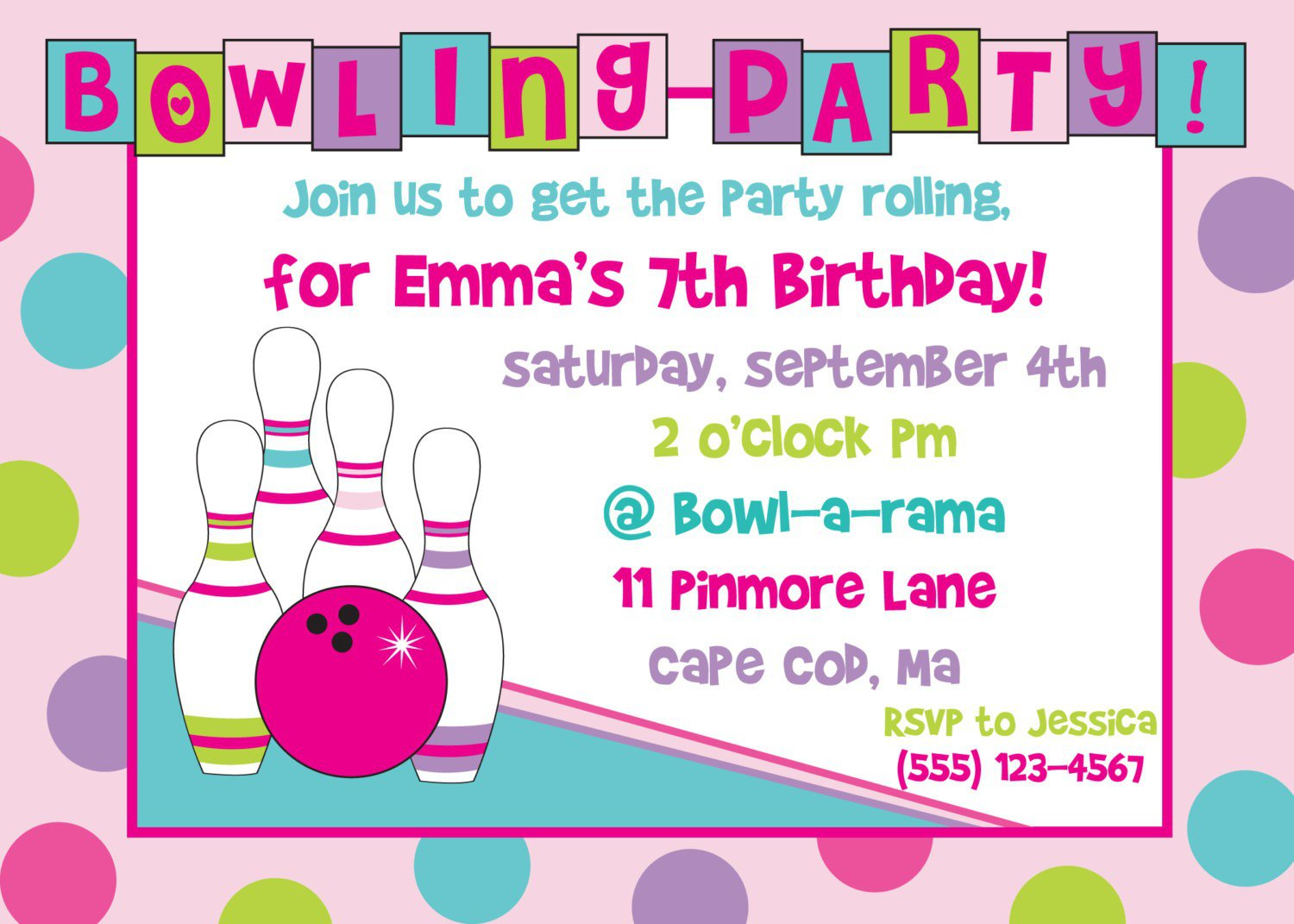 Free Printable Kids Bowling Party Invitations