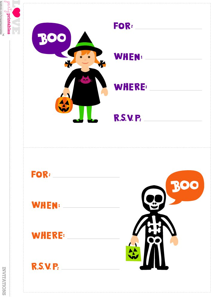 Free Printable Kids Halloween Party Invitations 2017