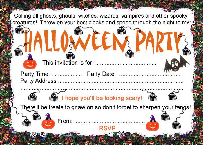 Free Printable Kids Halloween Party Invitations 2018
