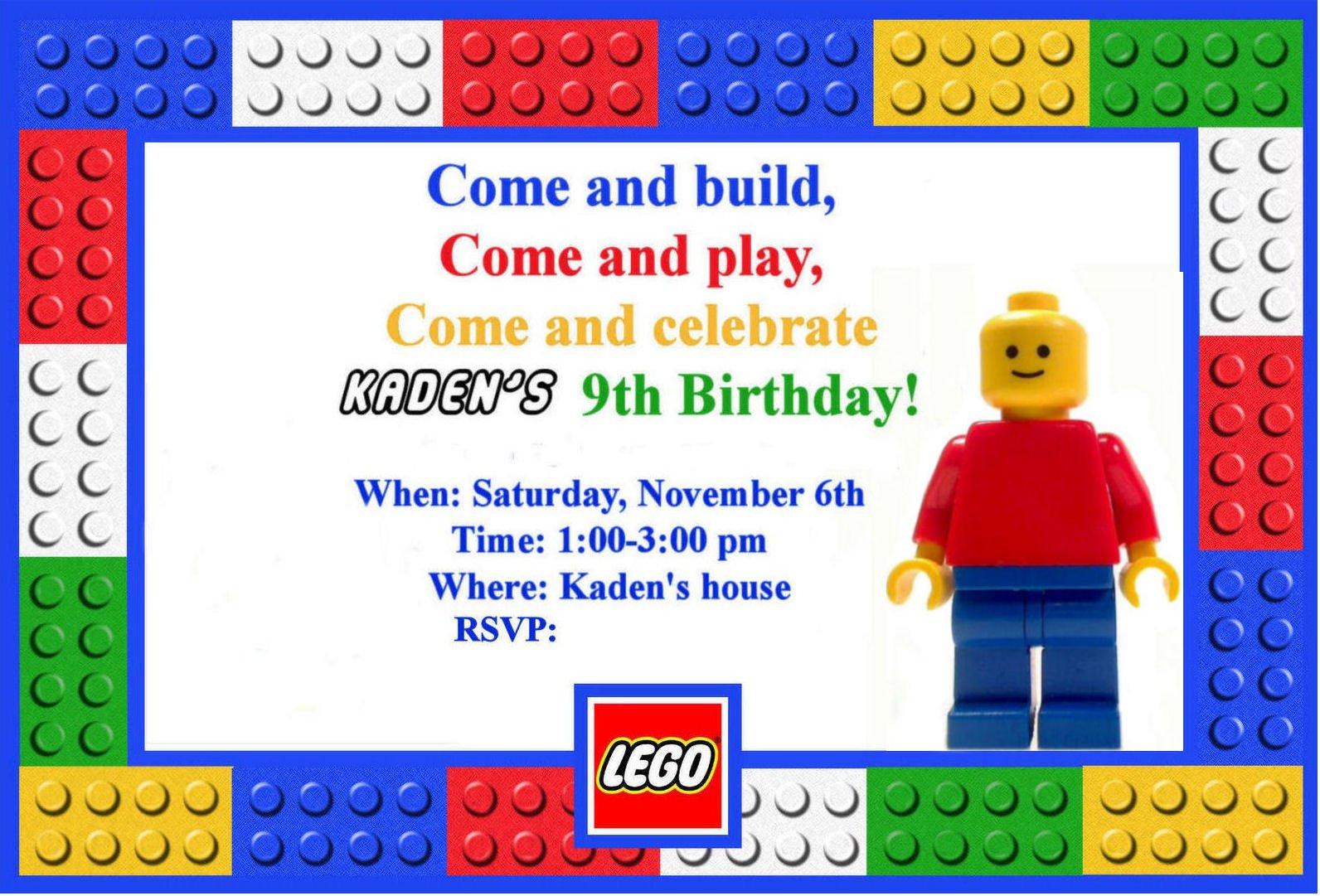 free printable lego birthday invitations | Dulahotw.co