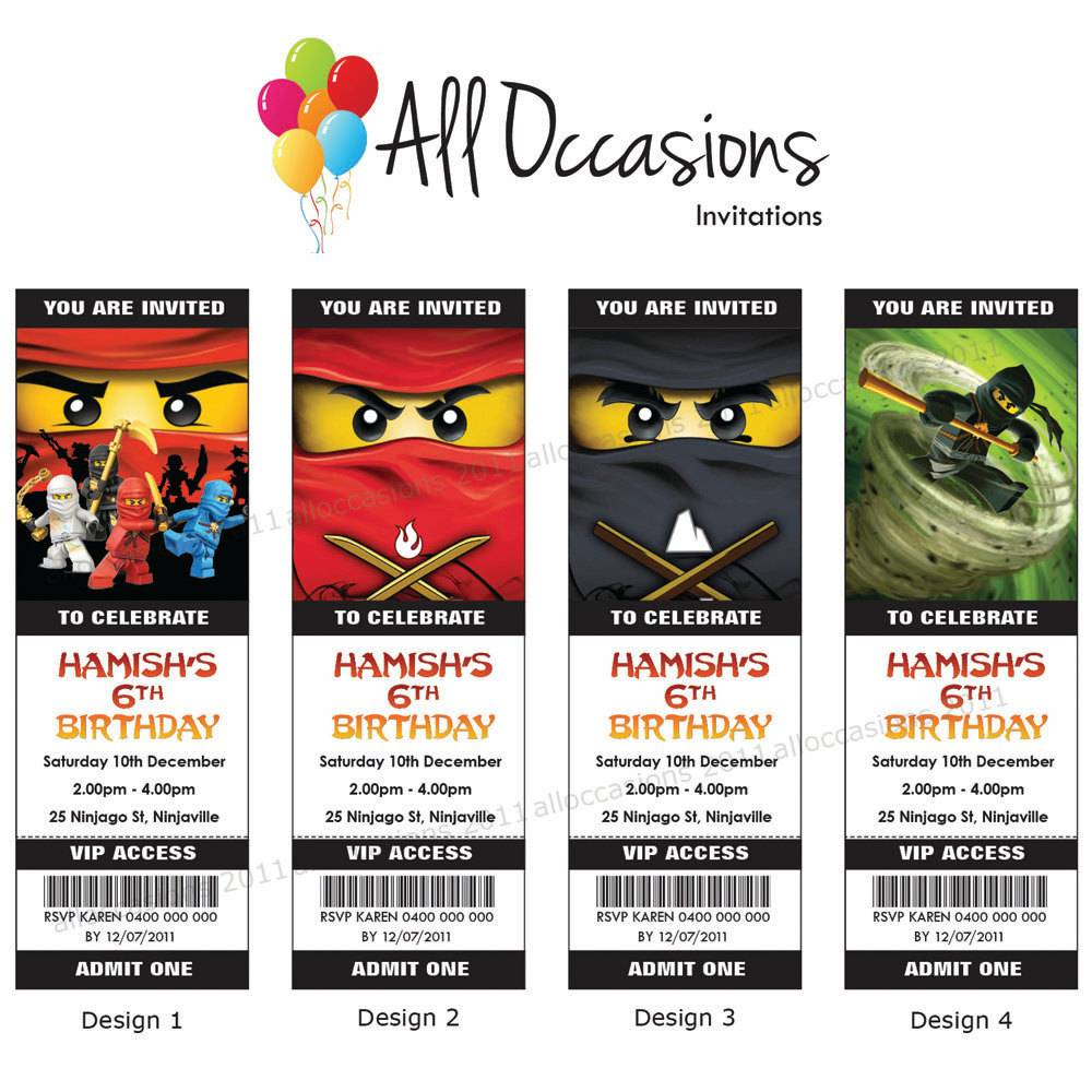 Free Printable Lego Ninjago Birthday Invitations