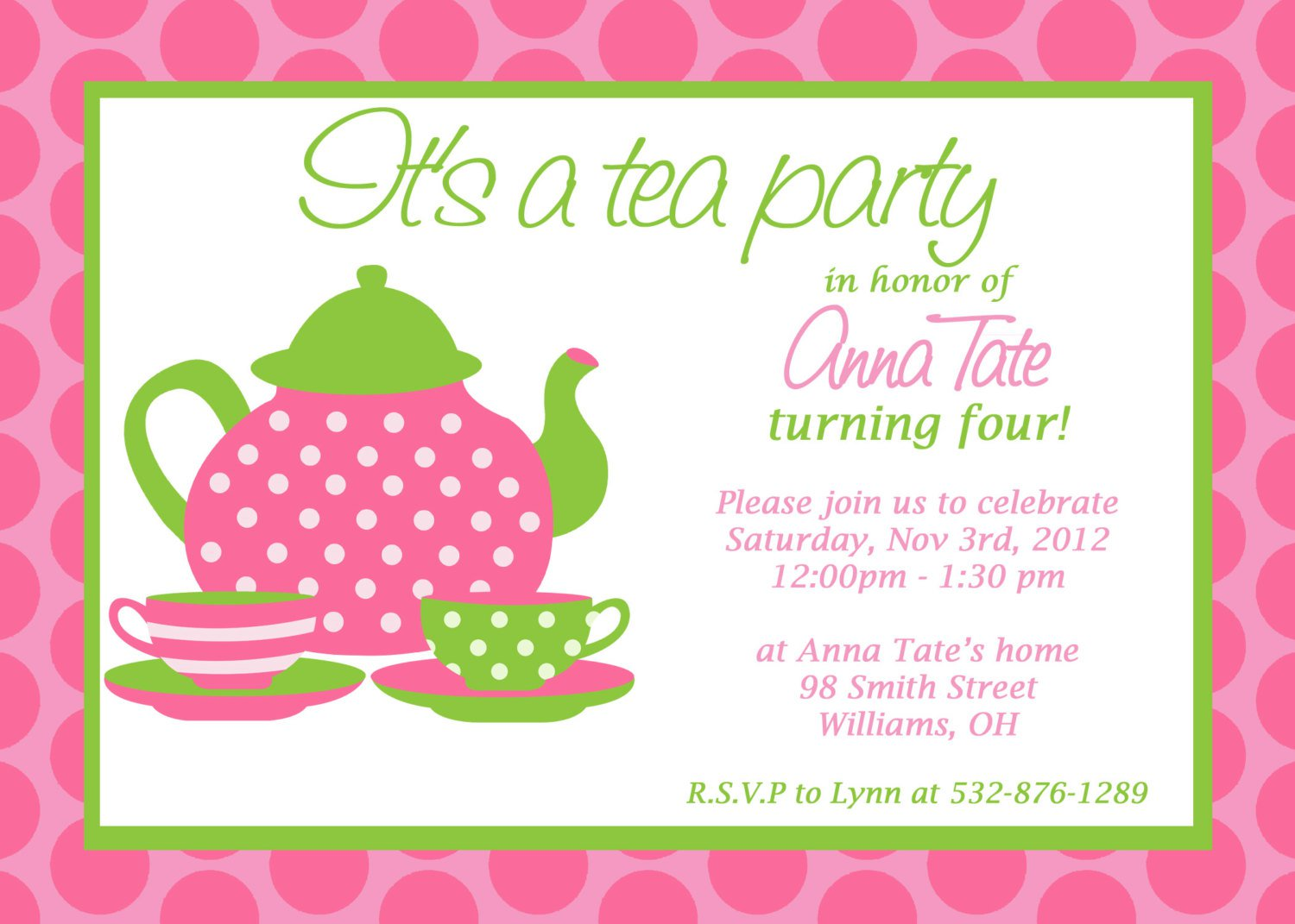 Free Printable Little Girl Tea Party Invitations
