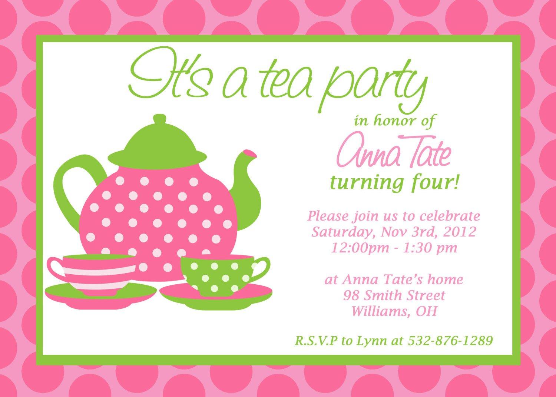 Free Printable Little Girl Tea Party Invitations