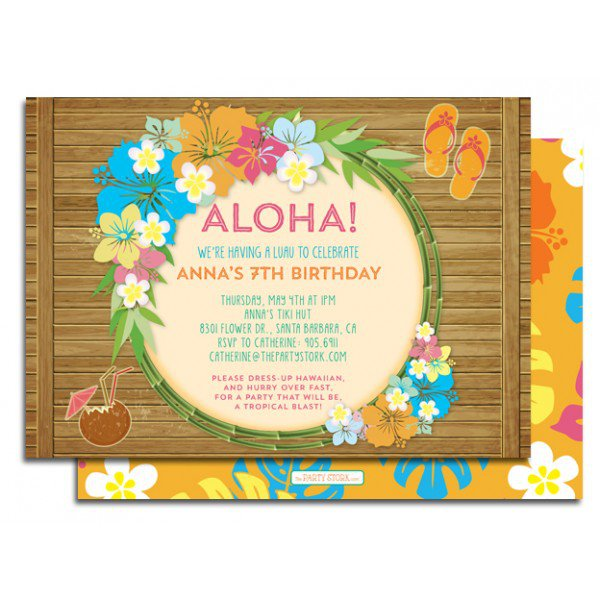 Free Printable Luau Birthday Invitations 2015