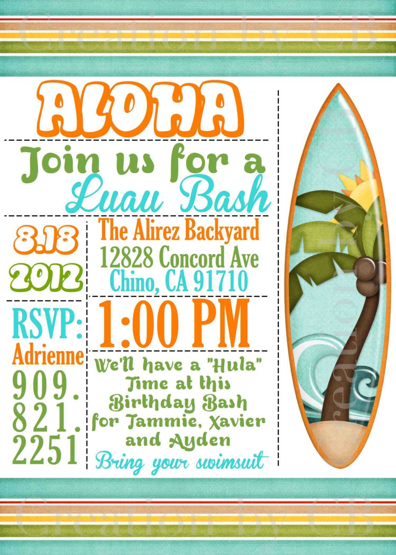 Free Printable Luau Party Invitations Kids 2018
