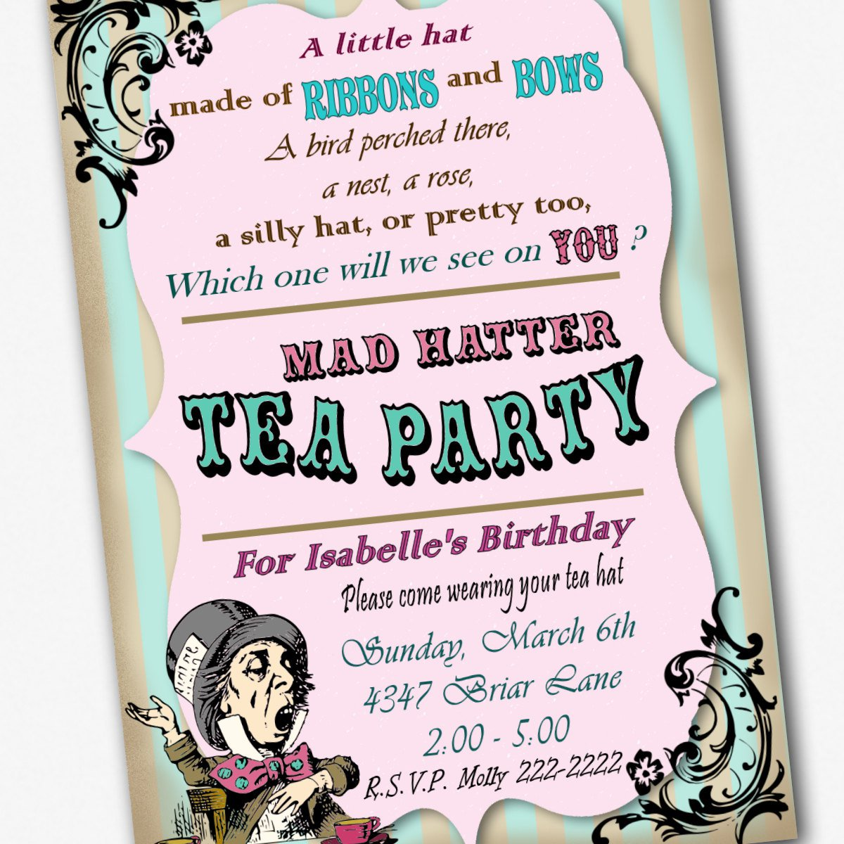 Free Printable Mad Hatters Tea Party Invitations