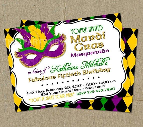 Free Printable Mardi Gras Invitations 2016