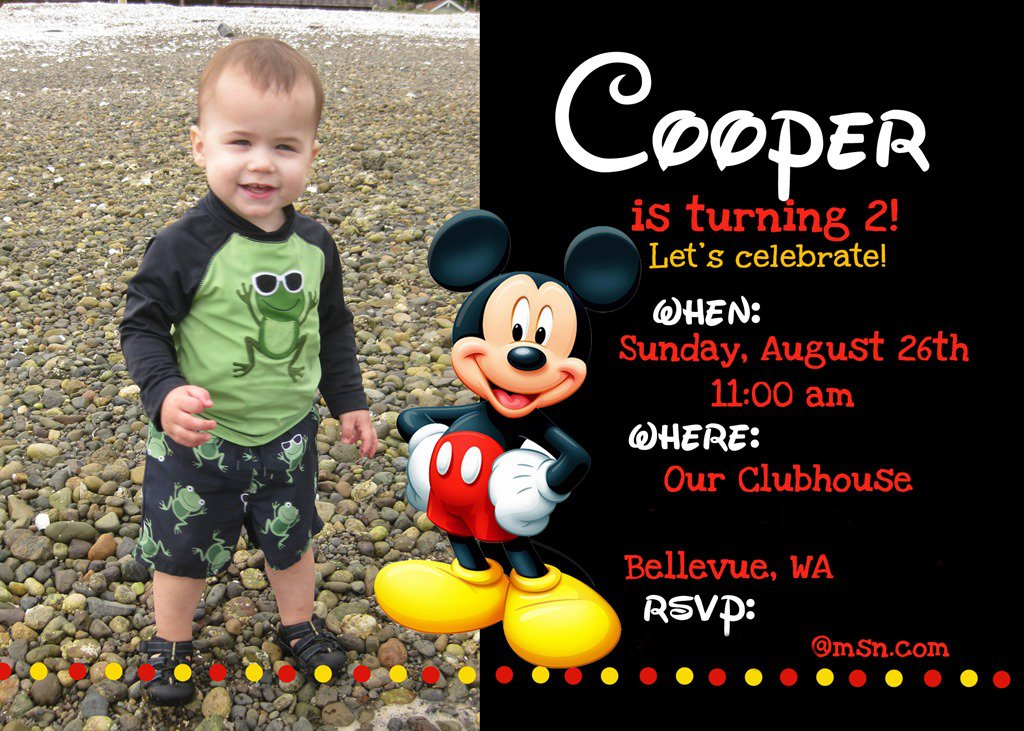 Free Printable Mickey Mouse Birthday Party Invitations 2017