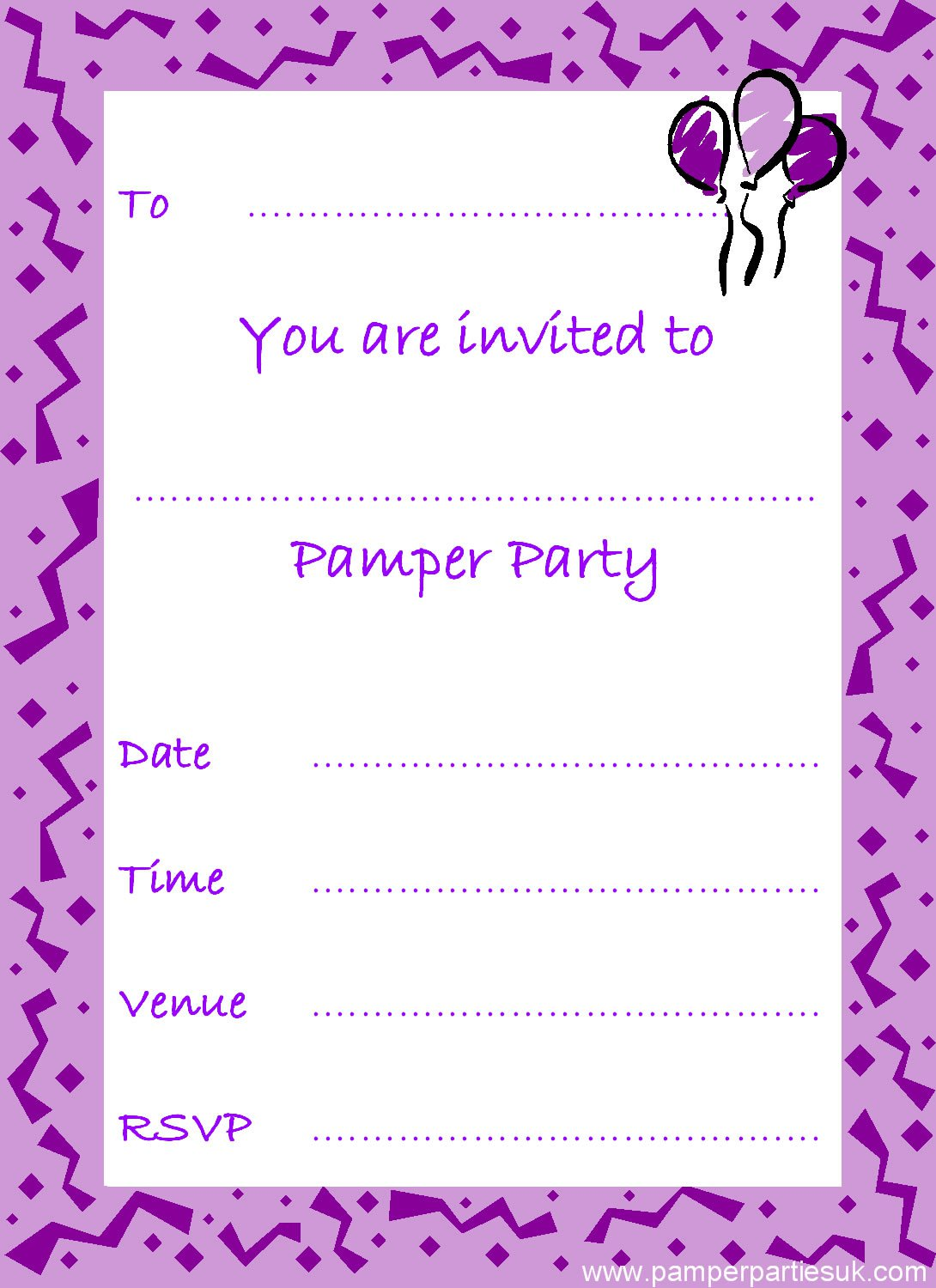 Free Printable Pamper Party Invitations Girls