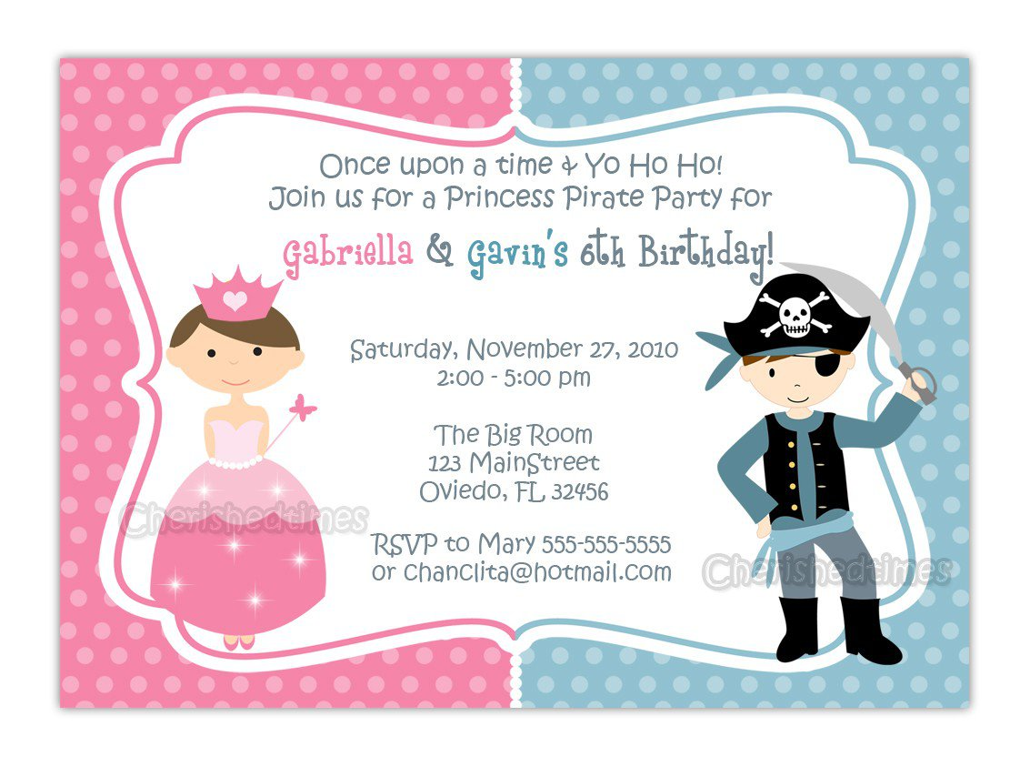 Free Printable Pirate Princess Party Invitations