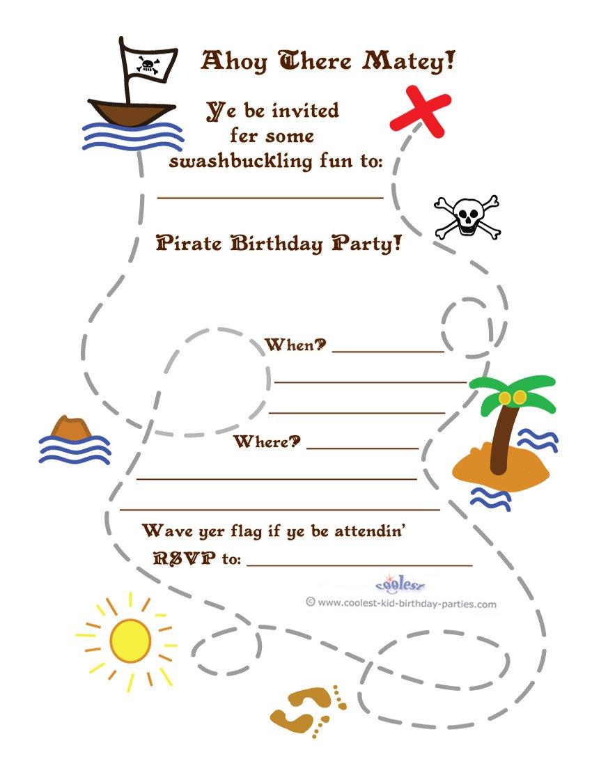Free Printable Pirate Treasure Map Invitations