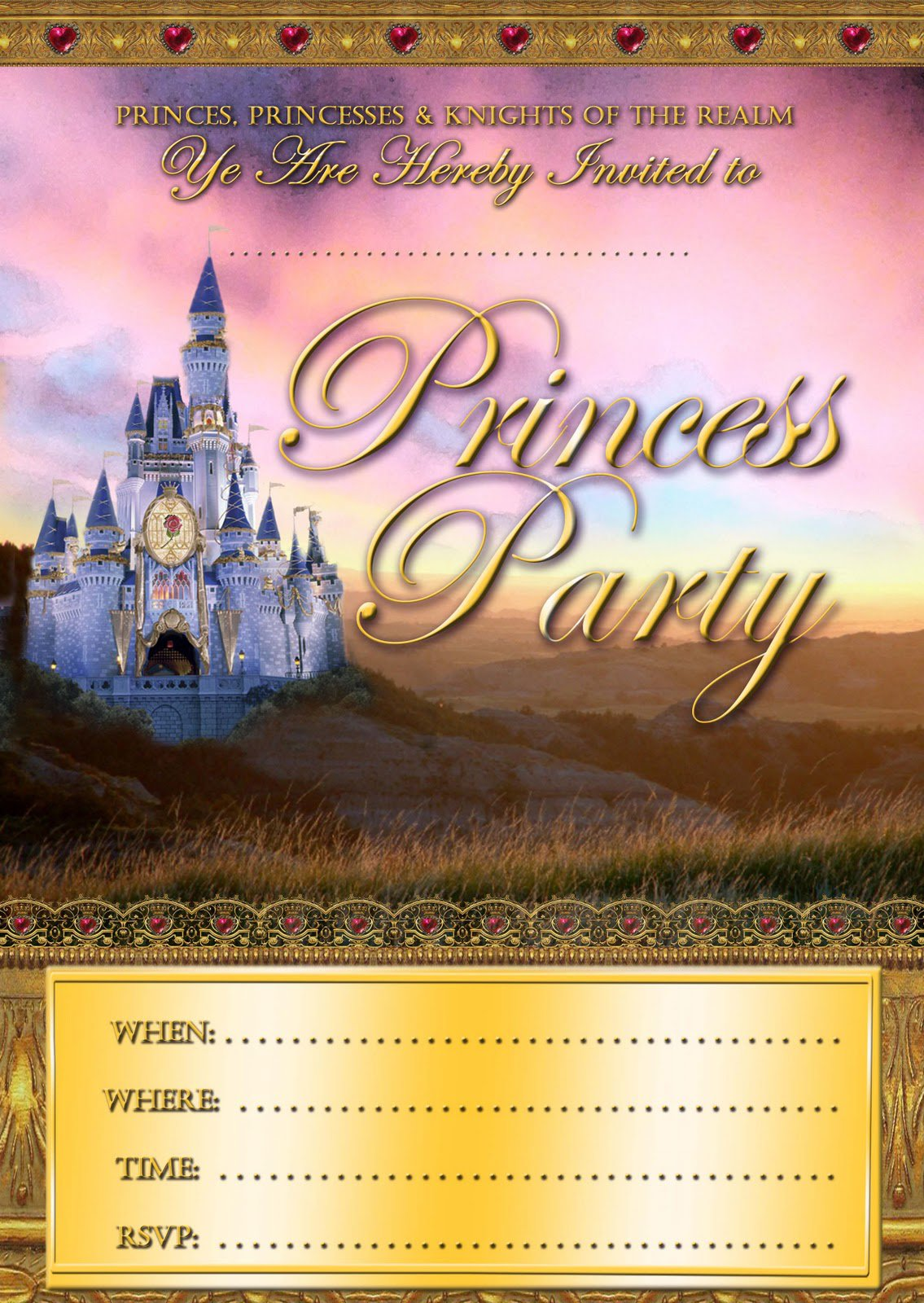 Free Printable Princess Party Invitations 2015