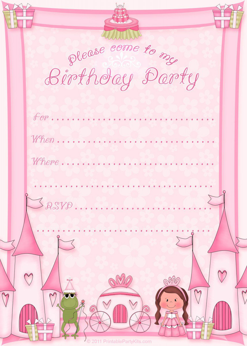 Free Printable Princess Party Invitations 2018