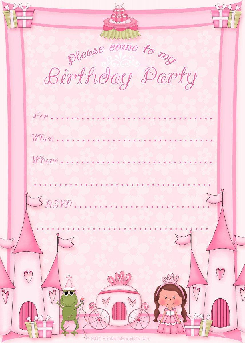 Free Printable Princess Party Invitations 2018