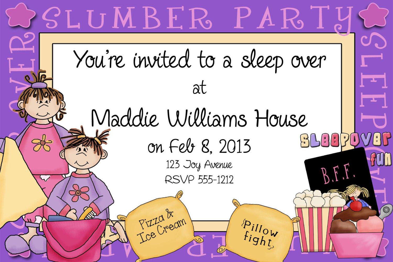 Free Printable Sleepover Invitation Cards