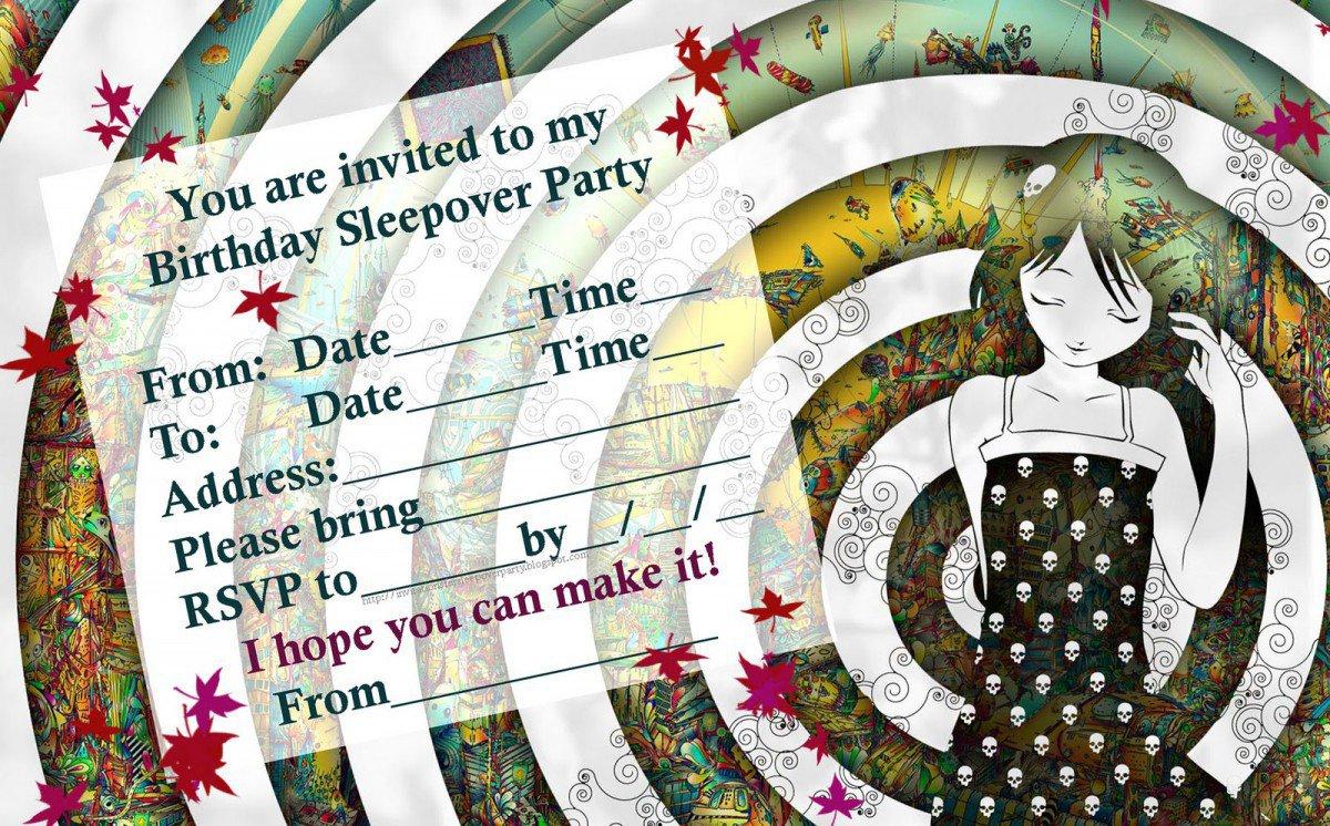 Free Printable Slumber Party Invitation Templates 2017