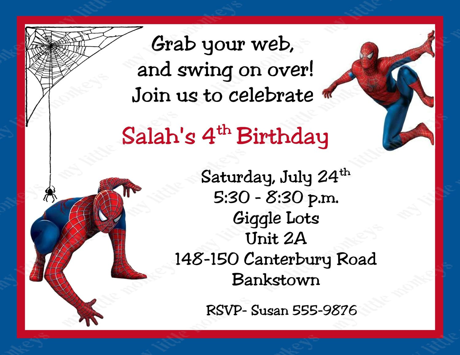 Free Spiderman Birthday Invitations Printable