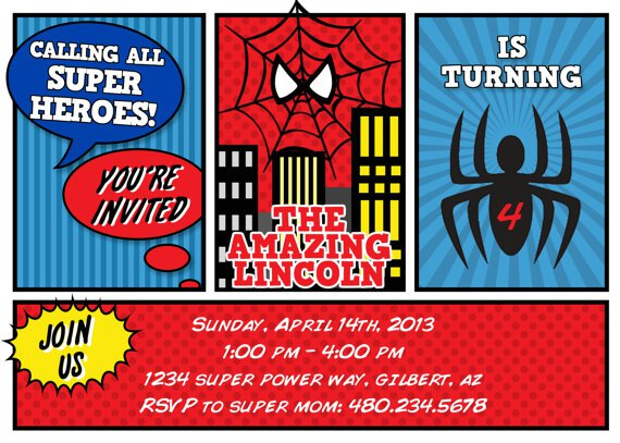 Free Printable Spiderman Invitation Card 2017