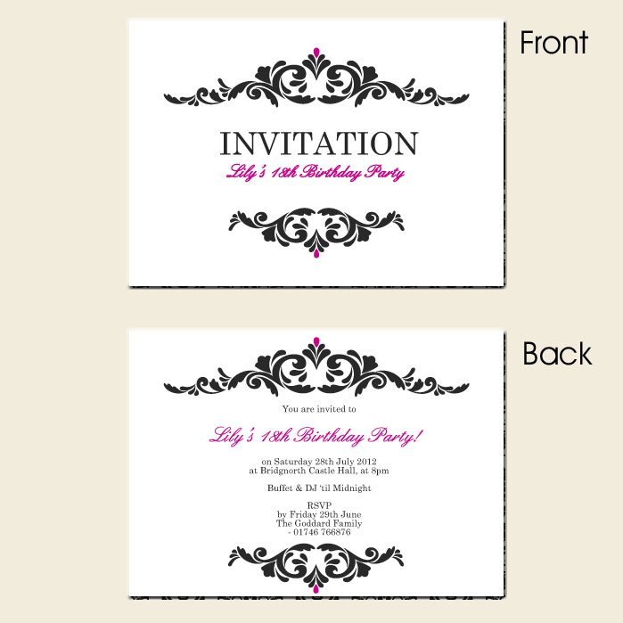 18th birthday invitations templates free 100 images 18th – Template for Birthday Invitations