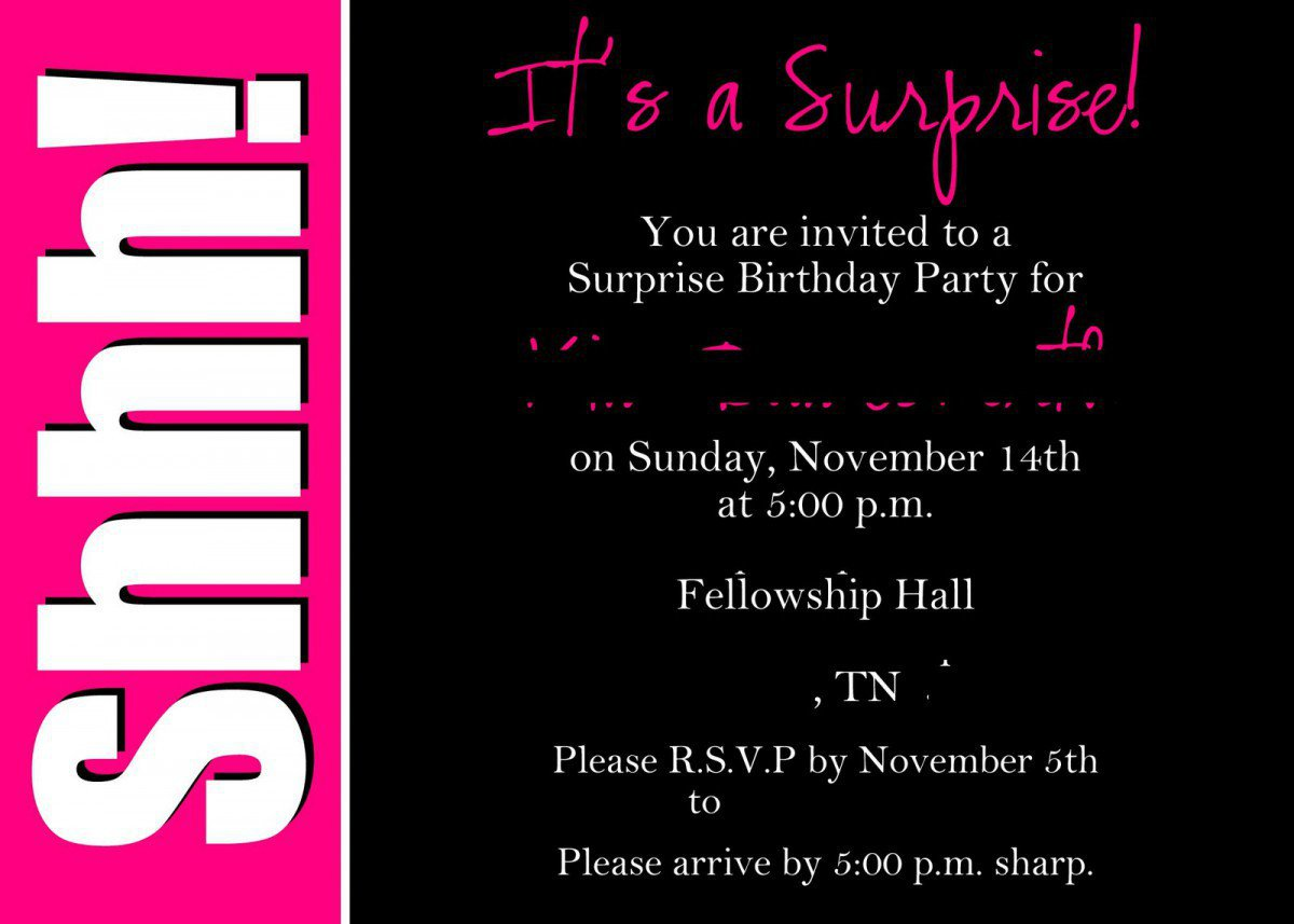 Free Printable Surprise Birthday Invitation Cards
