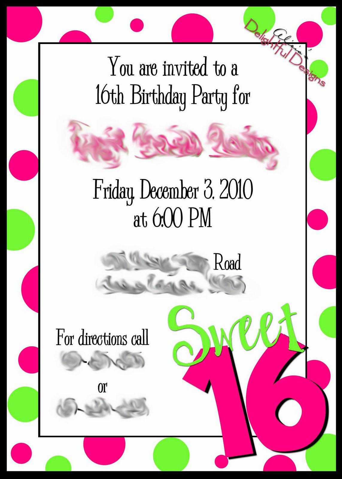 Free Printable Sweet 16 Invitation Cards 2018