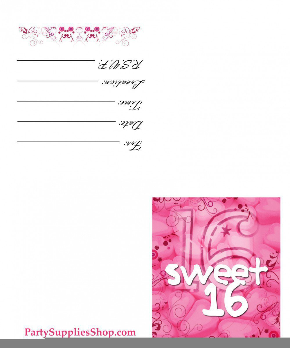Free Printable Sweet 16th Birthday Invitations – Printable 16th Birthday Invitations