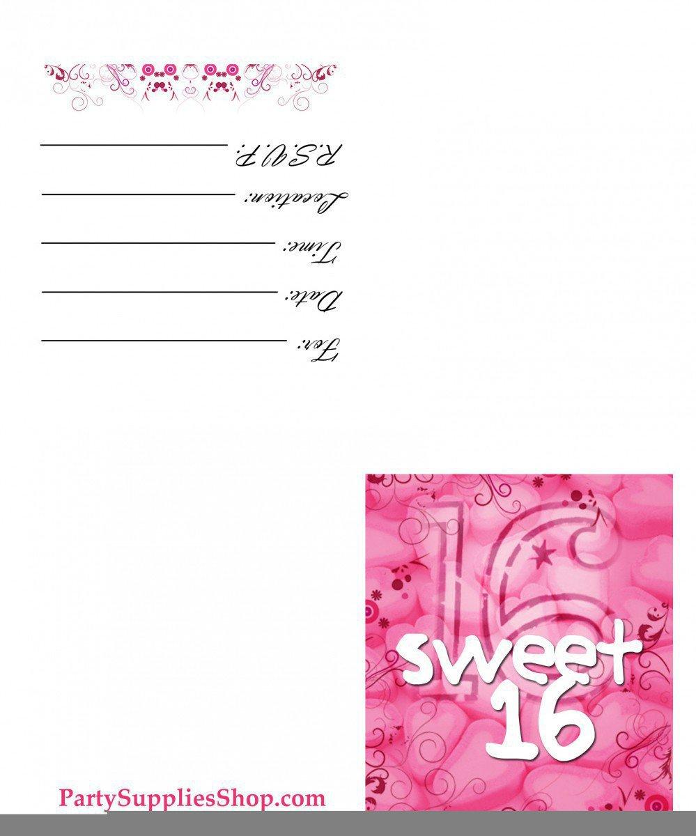 Free Printable Sweet 16th Birthday Invitations 2015