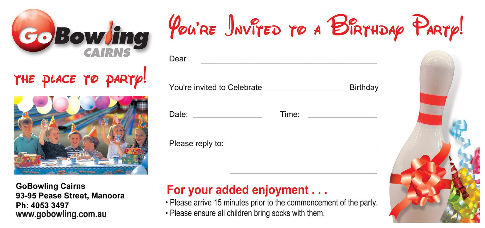 Free Printable Ten Pin Bowling Party Invitations