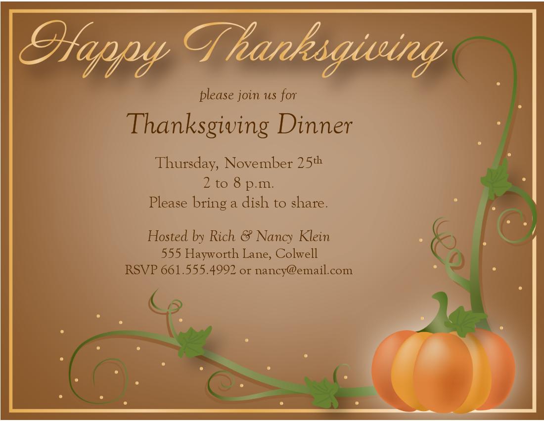 Free Printable Thanksgiving Invitations Templates