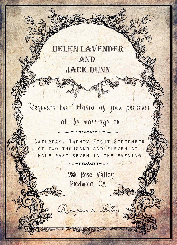 Free Printable Vintage Wedding Invitation Templates 2015