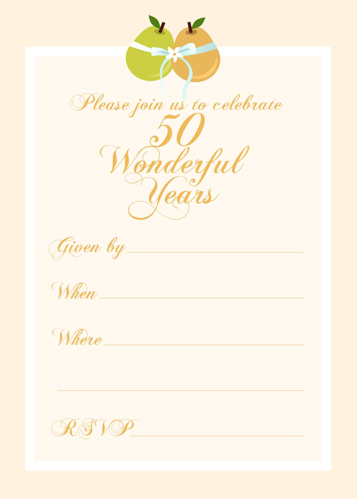 Free Printable Wedding Anniversary Invitation Templates