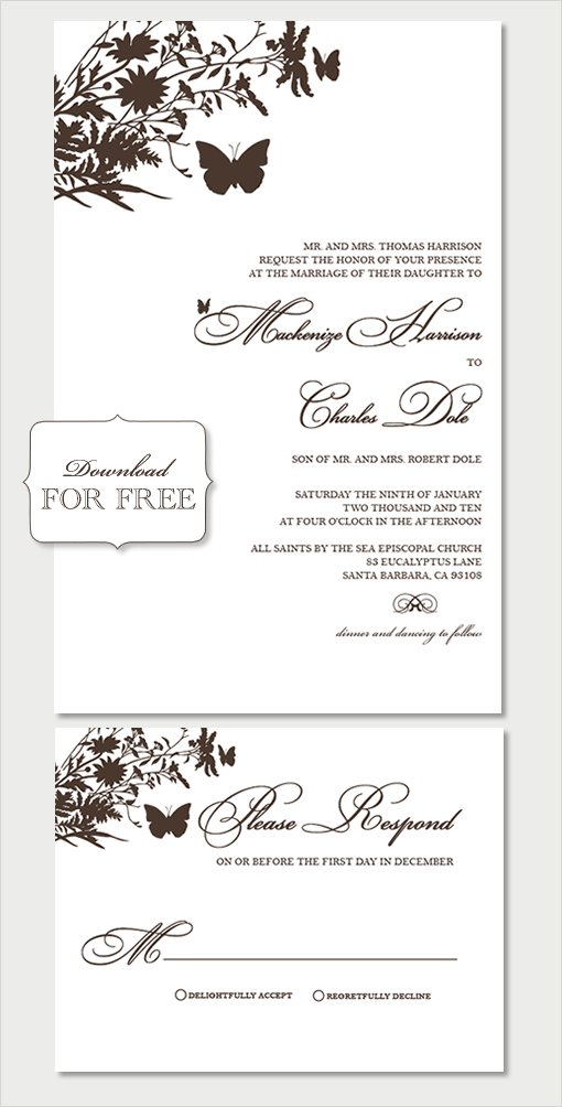 Free Printable Wedding Invitation Templates 2017