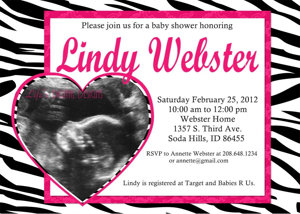 Free Printable Zebra Baby Shower Invitations