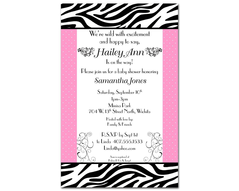 Free Printable Zebra Baby Shower Invitations Templates