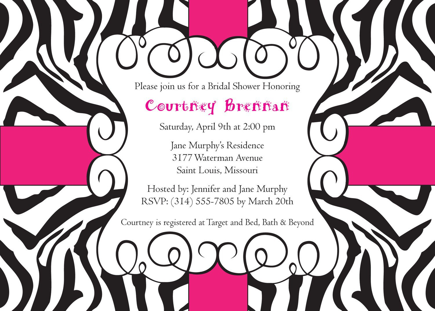 Free Printable Zebra Stripe Invitations