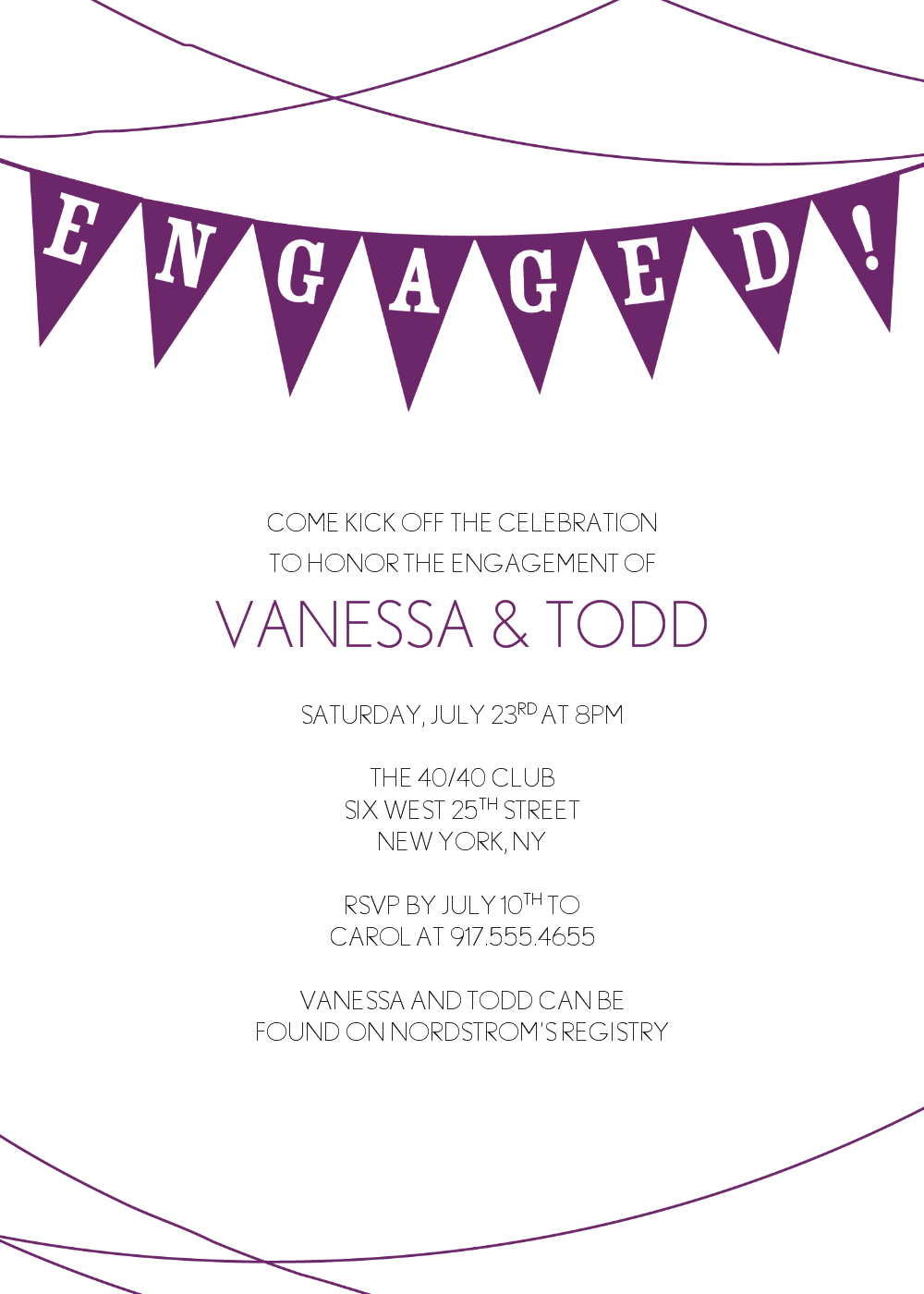 Free Sample Engagement Party Invitations