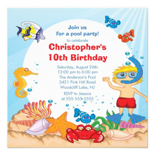 Free Swim Party Invitations For Kids