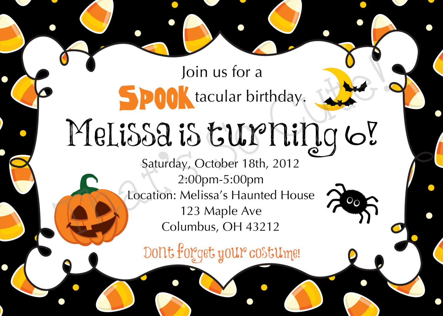 Halloween Birthday Printable Invitations