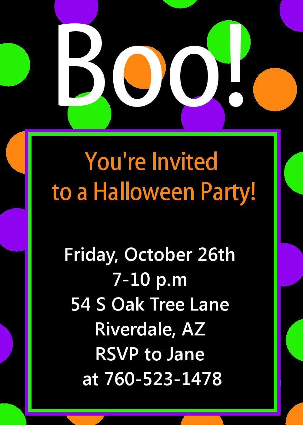 Halloween Invitations Free Printable Template