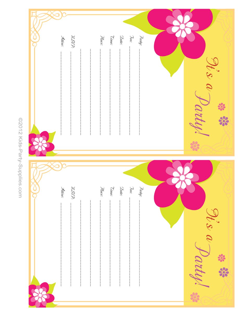 Luau Party Invitations Free Printable