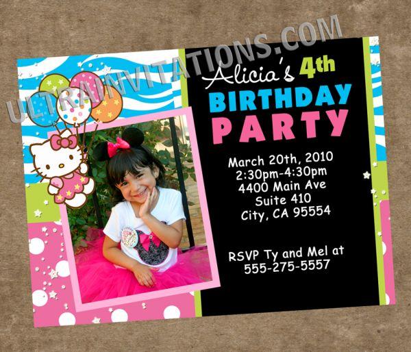 Hello Kitty Birthday Invitation Cards Print 2016