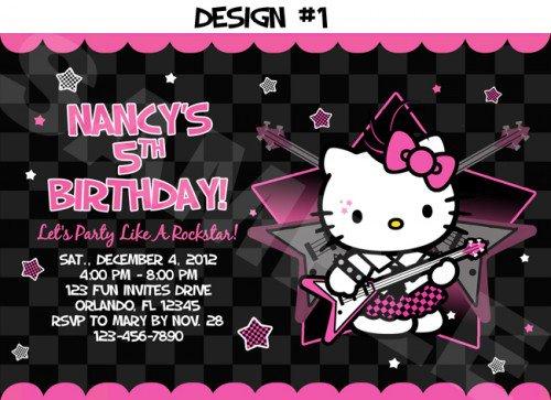 Hello Kitty Birthday Invitation Cards Print 2017