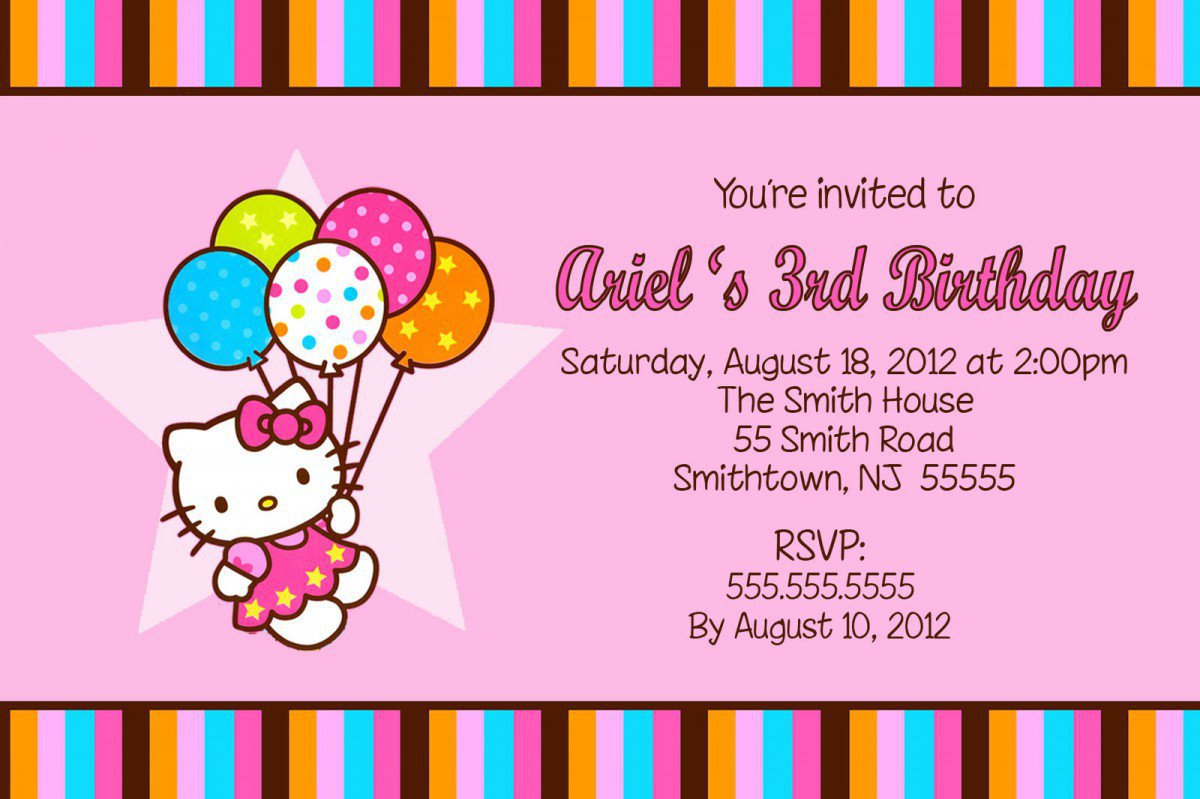Hello Kitty Invitations Printable 2016
