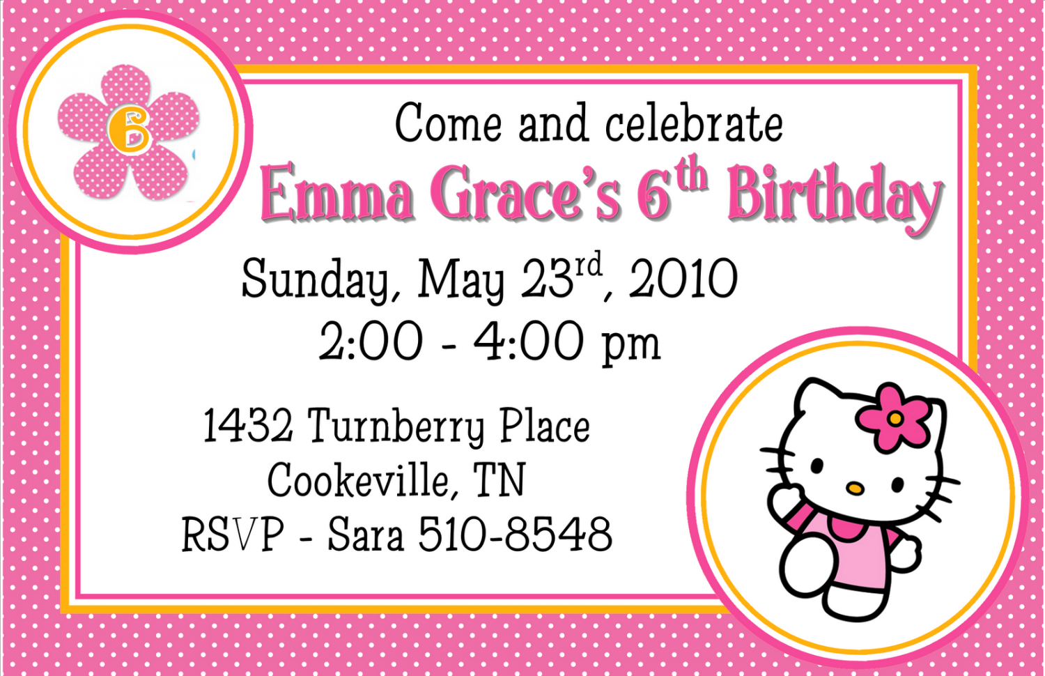 Hello Kitty Template Invitations - Free hello kitty birthday invitation templates